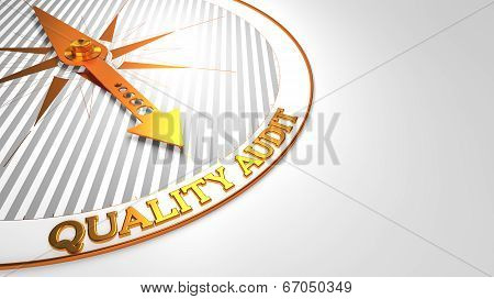 Quality Audit Concept - Golden Compass Needle on a White Field Pointing. poster