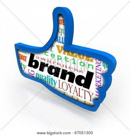 Brand word in a blue thumbs up symbol a product or company branding identity a favorite