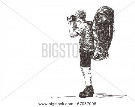 Trekking man with photo camera, Hand drawn Vector illustration