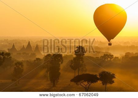 Balloon Over Plain Of Bagan In Misty Morning, Myanmar