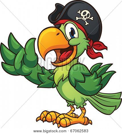 Cartoon pirate parrot. Vector clip art illustration with simple gradients. All in a single layer.