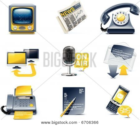 Vector Kommunikation Icon Set. Media