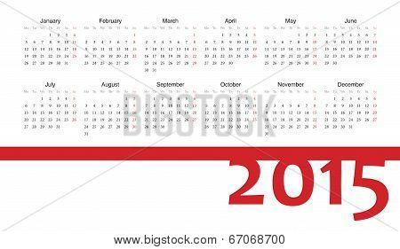 European 2015 Year Vector Calendar