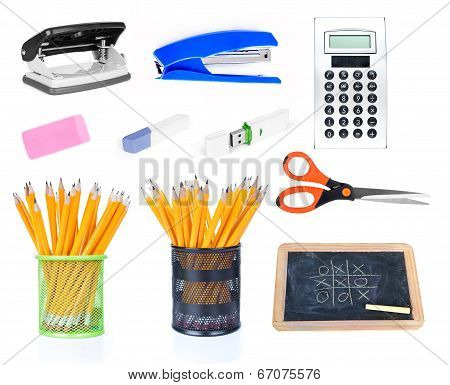 Office supplies, isolated on white