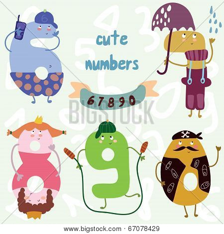 Vector Set-cute Numbers.all Numbers Are Very Cute Characters 6,7,8,9,0