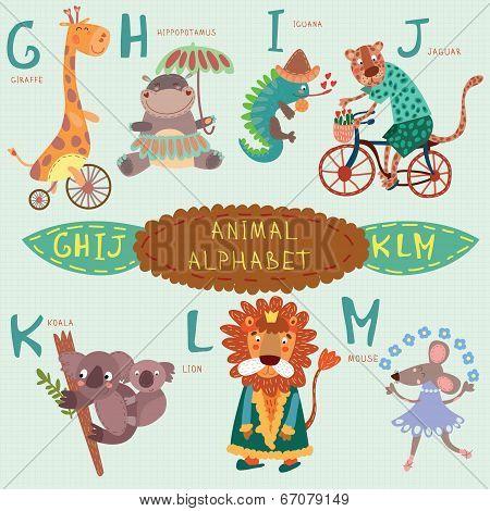 Very Cute Alphabet. G, H, I, J, K, L, M Letters. Giraffe, Hippopotamus, Iguana, Jaguar, Koala, Lion,