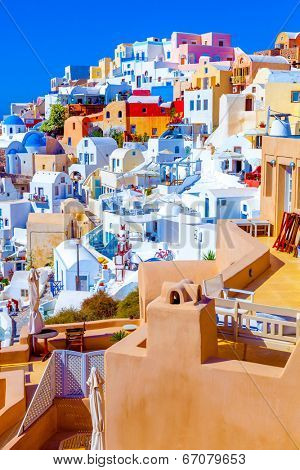 Santorini Oia Greece, view of pretty colorful houses. The awesome landscape of Santorini Traditional Houses