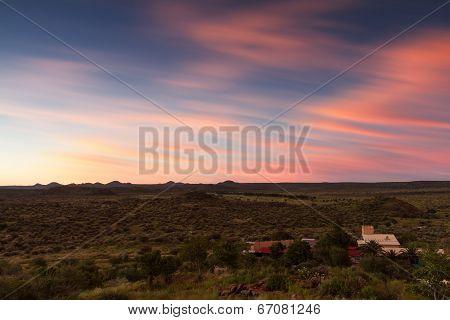 Namibian Farmland At Sunset