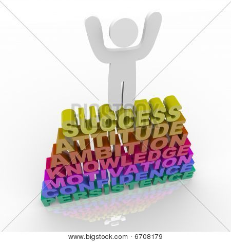 Person Celebrating Success - Atop Words