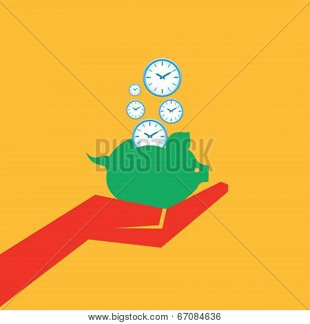 Save time concept with piggy bank stock vector