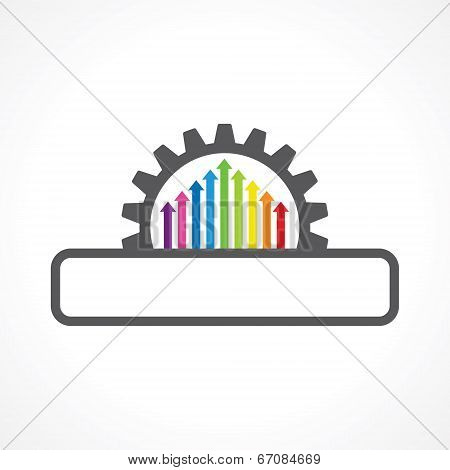 Colorful arrow inside the gear with copyspace stock vector