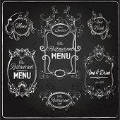 Elegant floral calligraphy chalkboard restaurant menu labels vector illustration poster
