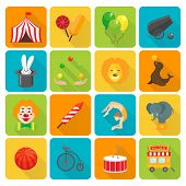 Funny smiling circus clown juggling with balls and magic hat rabbit focus flat isolated vector illustration poster