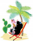 cartoon mole relaxing on chair in tropical beach and eating ice cream, isolated scene for little kids poster