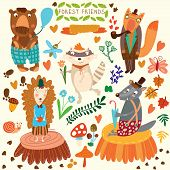 Vector Set of Cute Woodland and Forest Animals. Bear hedgehog fox wolf raccoonmosquito snail butterfly.(All objects are isolated groups so you can move and separate them) poster