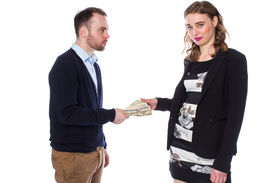 Man Giving Money To Woman
