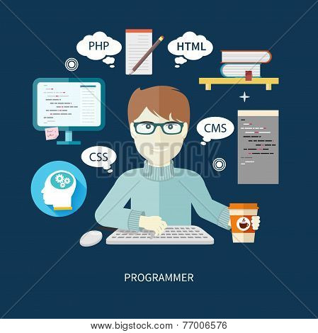 Male programmer with digital devices on workplace