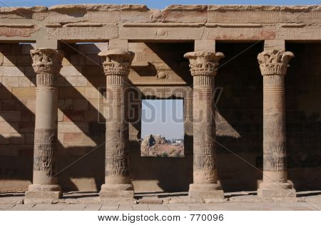 West Colonnade of the Temple of Isis on the Philae Island near Aswan, Egypt. poster