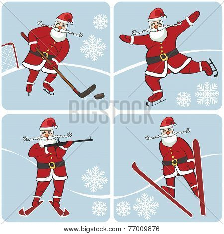 Santa playing winter sports.Skating,skiing,hockey,biathlon