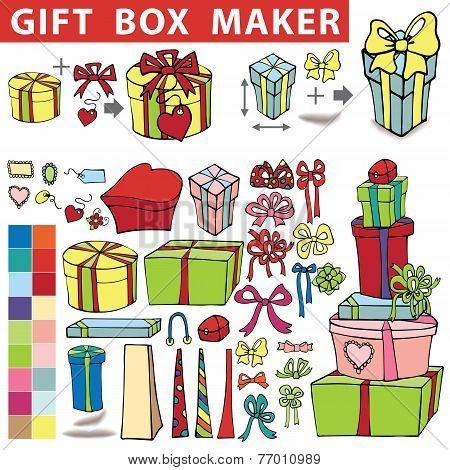 Gift box maker.Doodle set