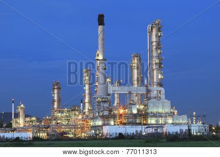 Beautiful Twilight Time In Evening Of Oil Refinery Plant In Heavy Petrochemical Ndustry Estate Site