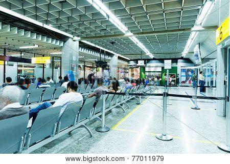 SAO PAULO, BRAZIL - CIRCA NOV 2014: Passengers at the Guarulhos Airport in Sao Paulo, Brazil. The Guarulhos airport is the most famous airport in Brazil.