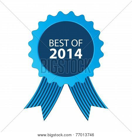 Blue Best Of 2014 Badge With Ribbon