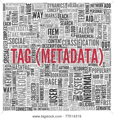 Red Tag Metadata Texts with Other Related Keywords in Simple Word Tag Cloud Design for Web Concepts.