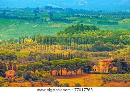 Oil Painting Filtered Picture Of Tuscany Landscape, Italy.