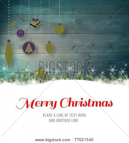 Merry christmas against christmas baubles in front of wood poster
