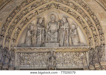 Paris - Last Judgment Tympanum of the Sainte Chapelle built in 1239 in Ile de la Cite