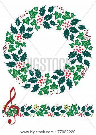 Christmas Music Wreath and Seamless Border
