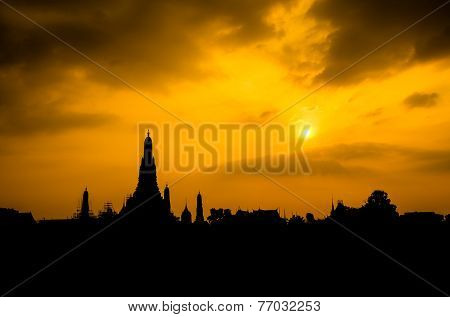 Silhouette Of Wat Arun Shot From Across Chaopraya River
