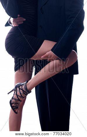 Beautiful sexy lady seducing young businessman