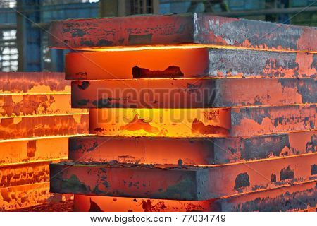 Stack of steel plate inside of plant