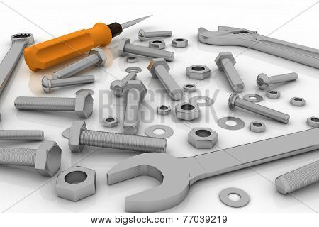 Realistic illustration of bolts, nuts and pucks of different shapes and tools on white background