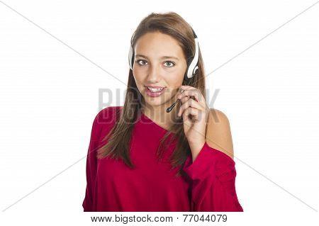 girl operator at call center