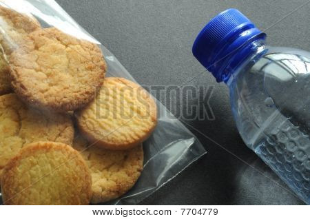 Bag of cookies and bottle of water