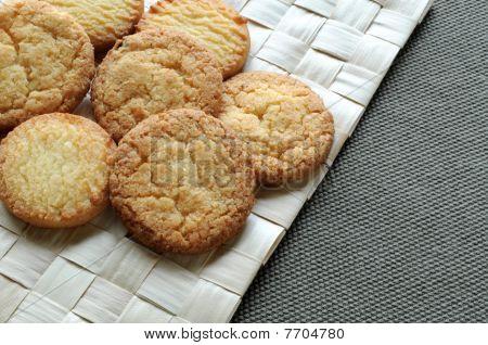 Cookies on grass mat