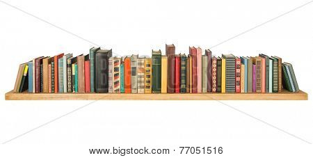 Books on the shelf, isolated.