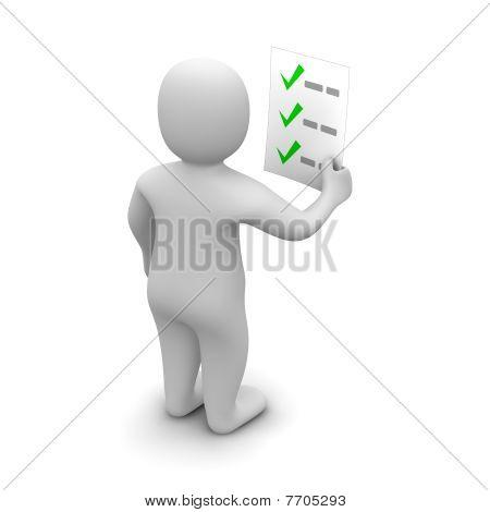 Man looking at checklist