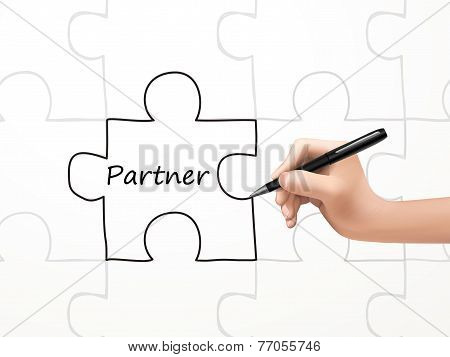 partner word and puzzle drawn by human hand over white background poster