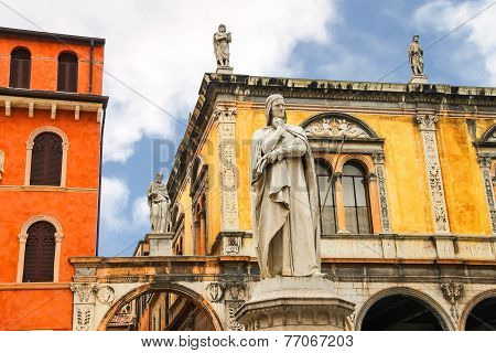 Monument Of Dante Alighieri On The Piazza Della Signoria In Verona, Italy