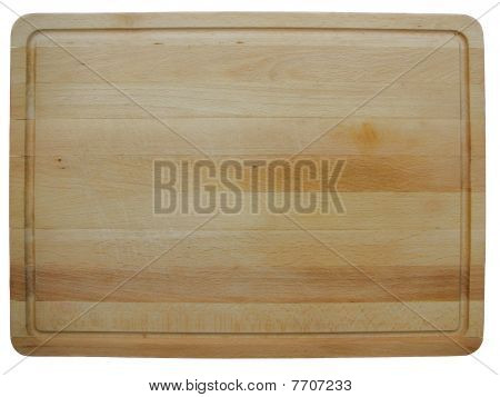 wood cutting board on white background