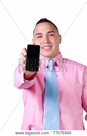 Businessman Holding A Cell Phone