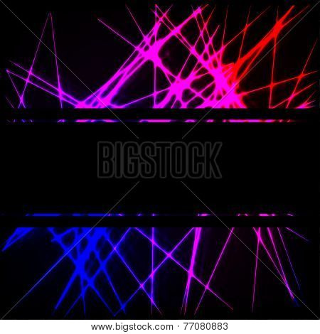 Black background with neon lines and place for text
