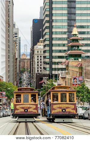 San Francisco, CA - CIRCA JULY 2014 - Two Cable cars traffic in San Francisco, CA, circa July 2014.