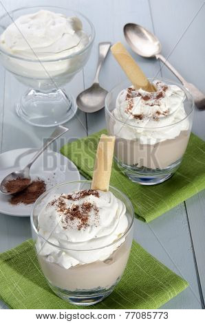 Mocca Cream Dessert With Whipped Cream And Cocoa Powder