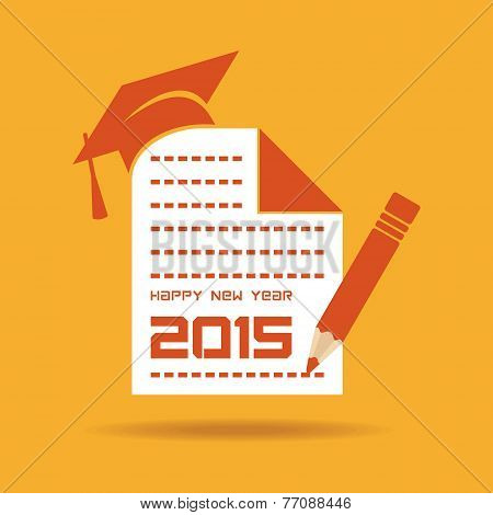 creative New Year 2015 design with education concept stock vector
