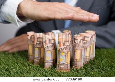 Businessman Shielding Euro Notes On Grass